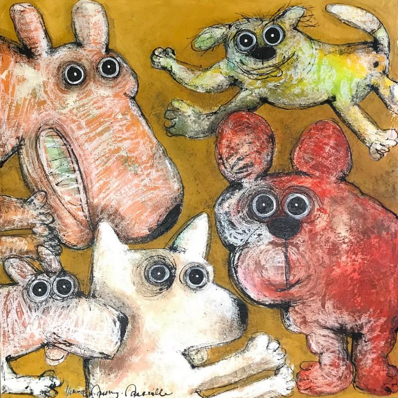 Gang de chiens - 100 x 100 cm - 1 700 €