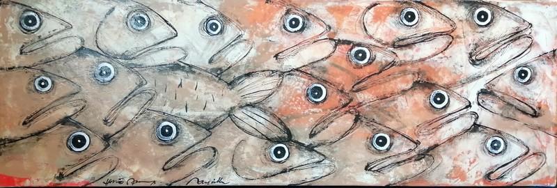Banc de poissons - 120 x 40 cm - 950 €
